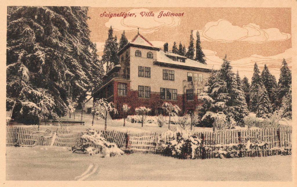 Old postal card of Villa Jolimont in Saignelégier